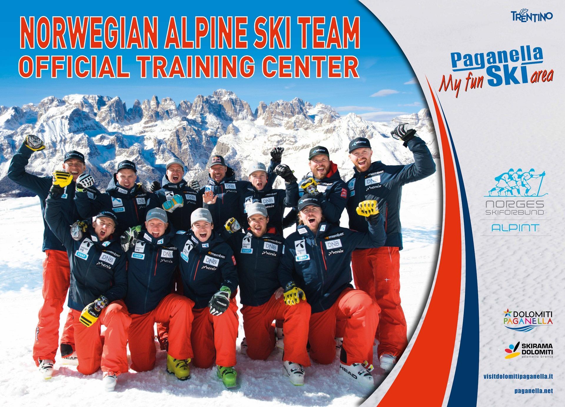 La squadra nazionale norvegese di sci in Paganella Ski